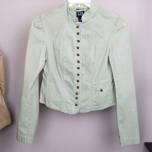 Gap short mint green corduroy blazer jacket size 2